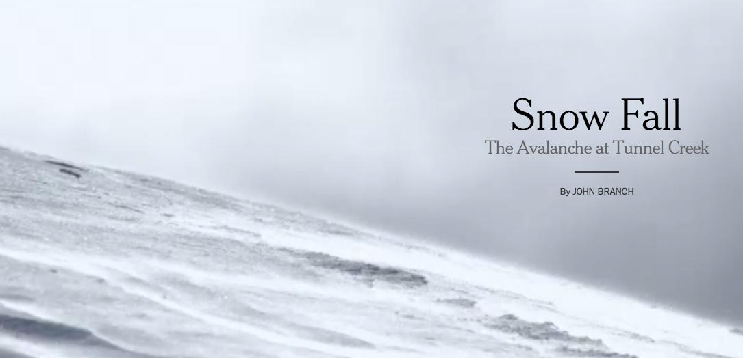 """El reportaje """"Snow fall"""" combinaba texto, fotos, vídeos y gráficos para ofrecer al lector una experiencia completa."""