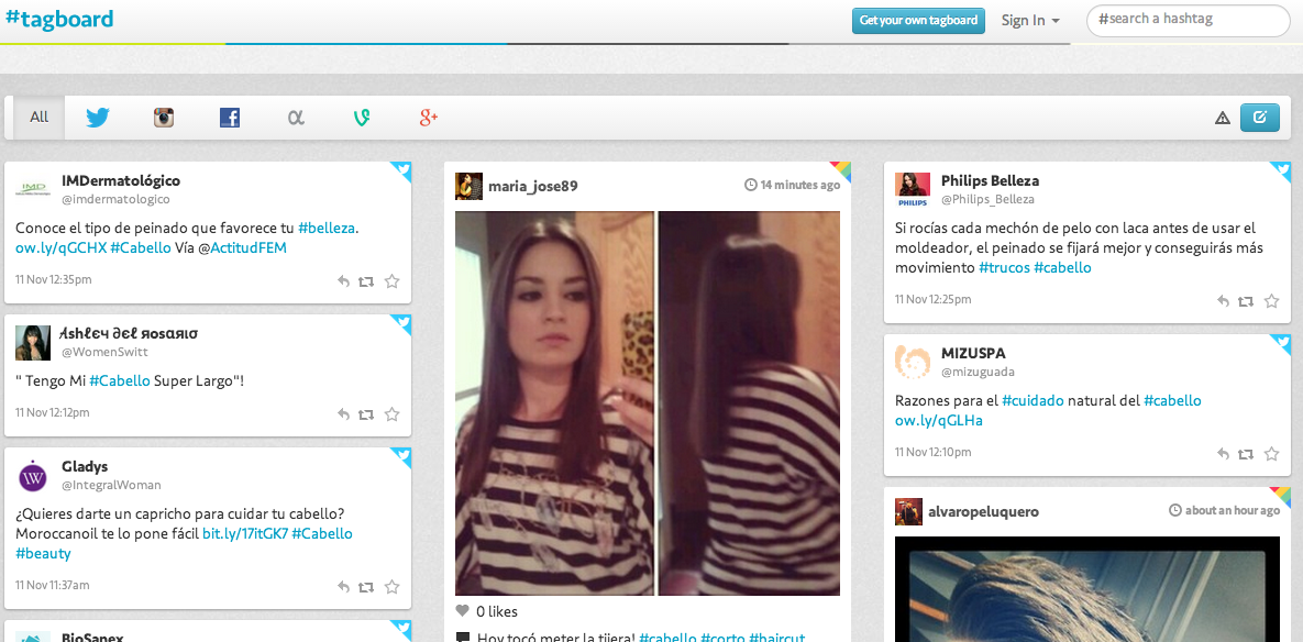 Tagboard permite monitorizar un hashtag en diferentes redes sociales.