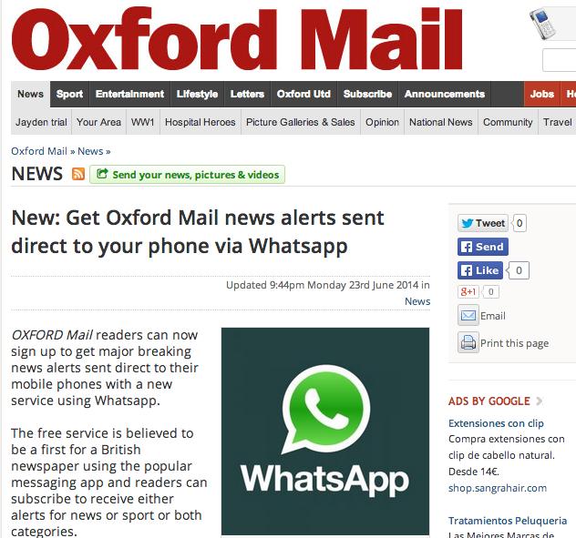 El Oxford Mail ha lanzado con éxito un servicio de envío de noticias vía Whatsapp.