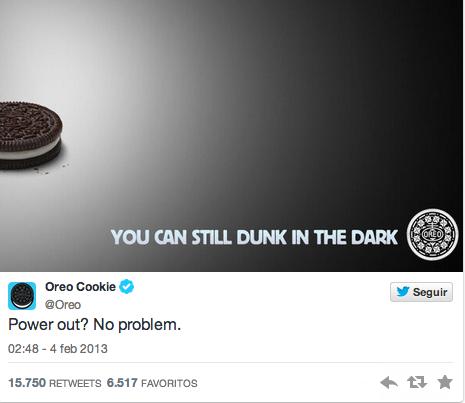 Oreo supo reaccionar rápida y brillantemente en Twitter a lo sucedido en la Super Bowl, logrando grandes resultados.
