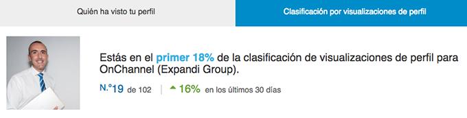 Desde hace poco, Linkedin clasifica la visibilidad de tu perfil comparándote con tu sector, empresa y contactos.
